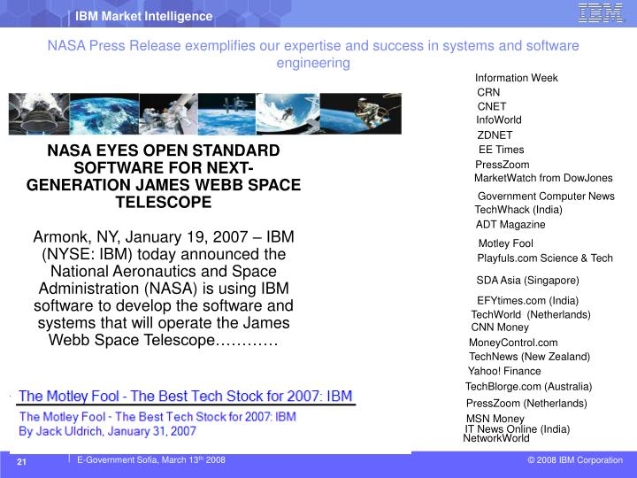 NASA Press Release exemplifies our expertise and success in systems and software engineering