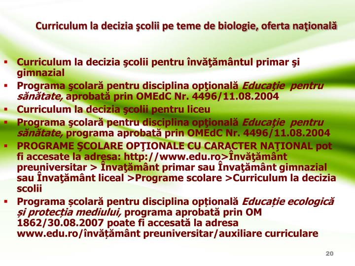 Curriculum la decizia şcolii pe