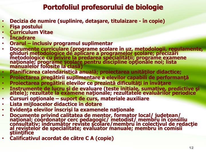 Portofoliul profesorului de biologie