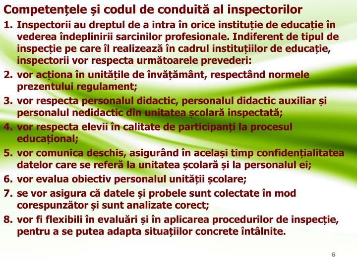 Competențele și codul de conduită al inspectorilor