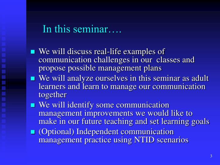 In this seminar….