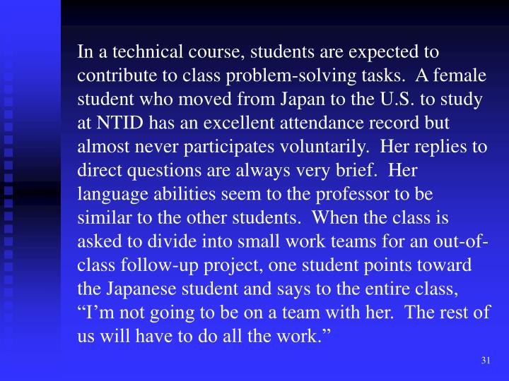 "In a technical course, students are expected to contribute to class problem-solving tasks.  A female student who moved from Japan to the U.S. to study at NTID has an excellent attendance record but almost never participates voluntarily.  Her replies to direct questions are always very brief.  Her language abilities seem to the professor to be similar to the other students.  When the class is asked to divide into small work teams for an out-of-class follow-up project, one student points toward the Japanese student and says to the entire class, ""I'm not going to be on a team with her.  The rest of us will have to do all the work."""