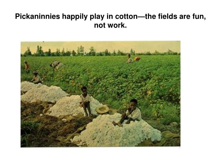 Pickaninnies happily play in cottonthe fields are fun, not work.