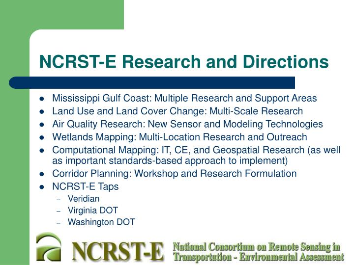 NCRST-E Research and Directions