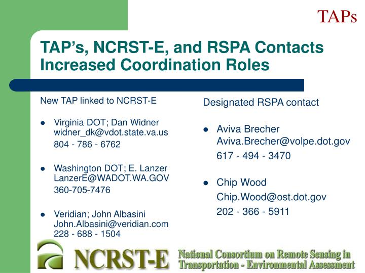 New TAP linked to NCRST-E