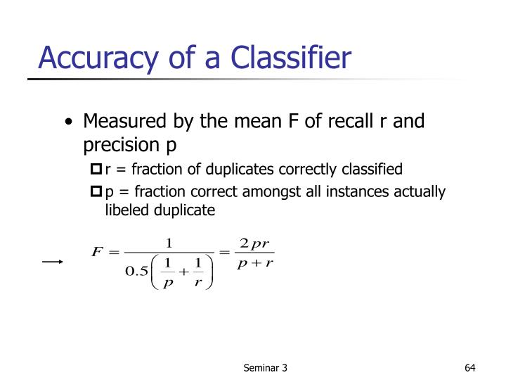 Measured by the mean F of recall r and precision p