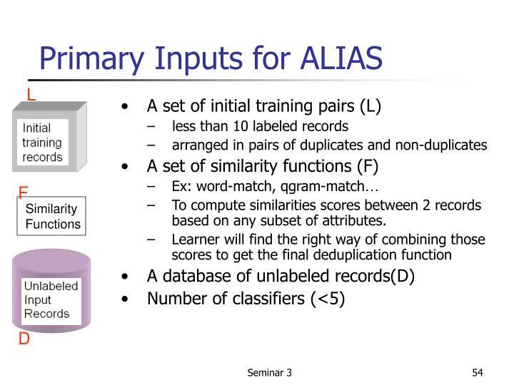 Primary Inputs for ALIAS