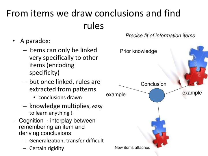 From items we draw conclusions and find rules