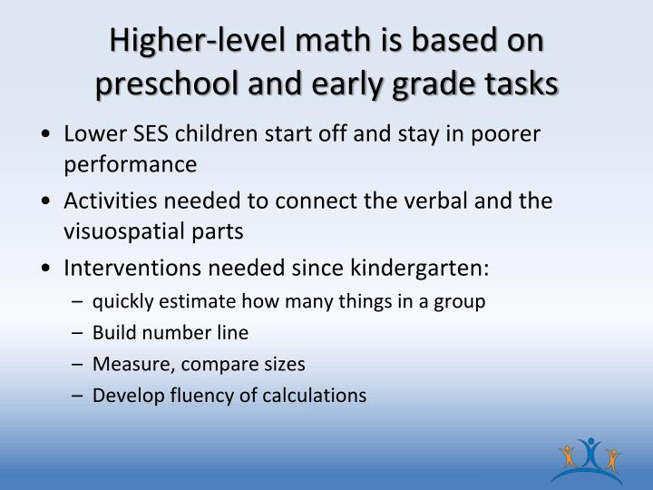Higher-level math is based on preschool and early grade tasks
