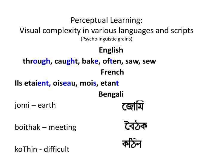 Perceptual Learning: