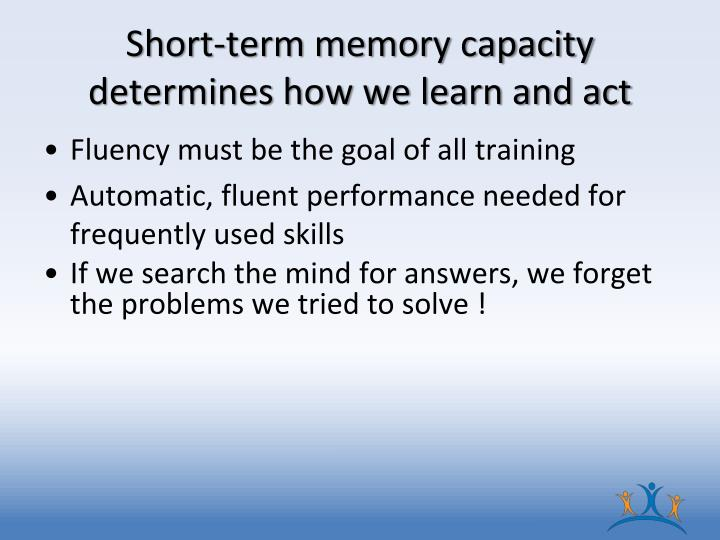 Short-term memory capacity determines how we learn and act