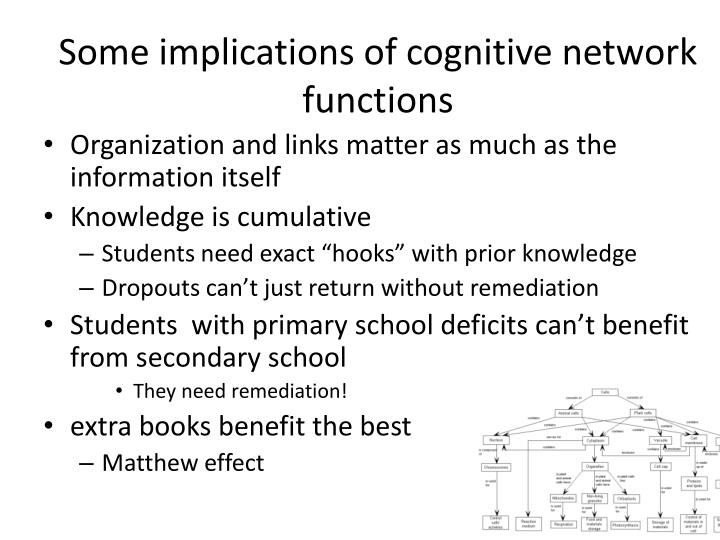 Some implications of cognitive network functions