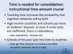 time is needed for consolidation instructional time amount crucial