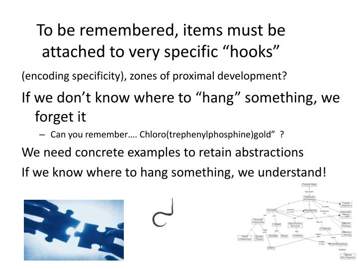"To be remembered, items must be attached to very specific ""hooks"""