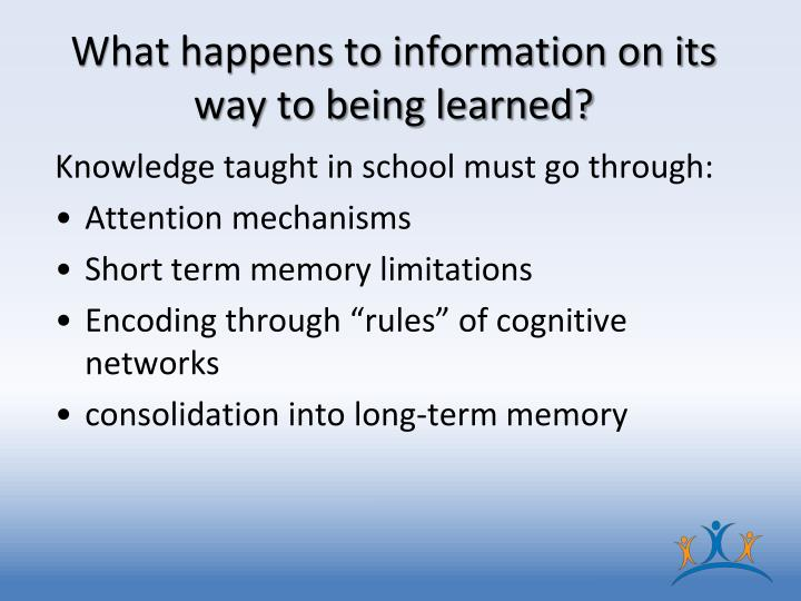 What happens to information on its way to being learned?