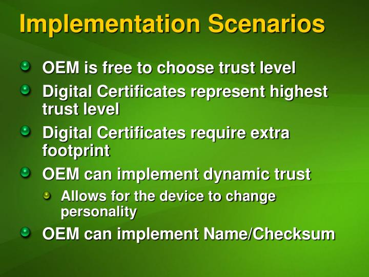 Implementation Scenarios
