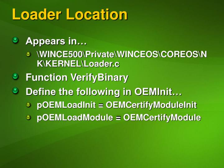 Loader Location