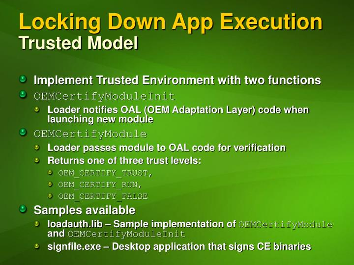 Locking Down App Execution
