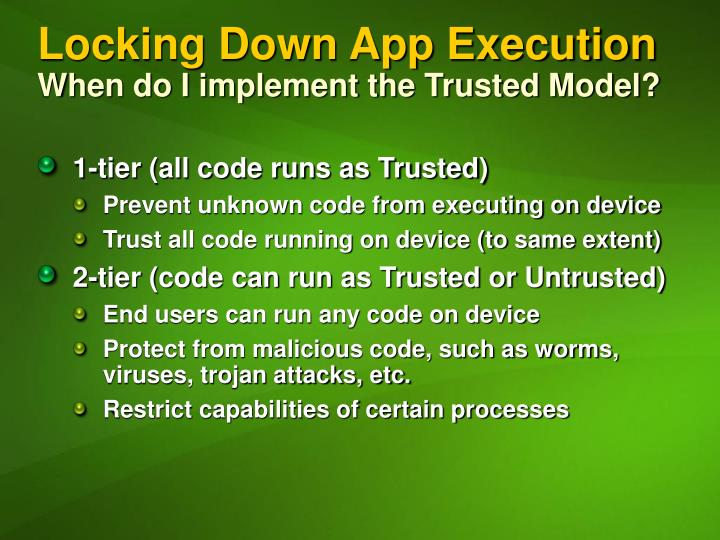 Locking Down App Execution