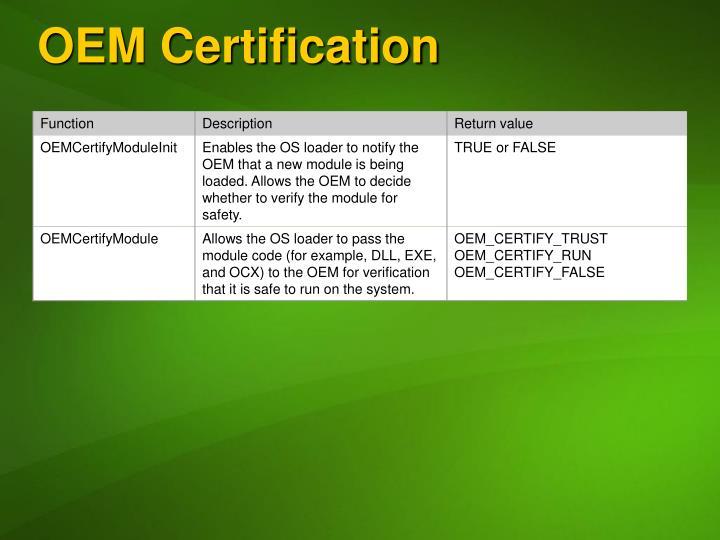 OEM Certification