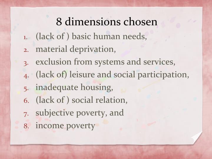 8 dimensions chosen
