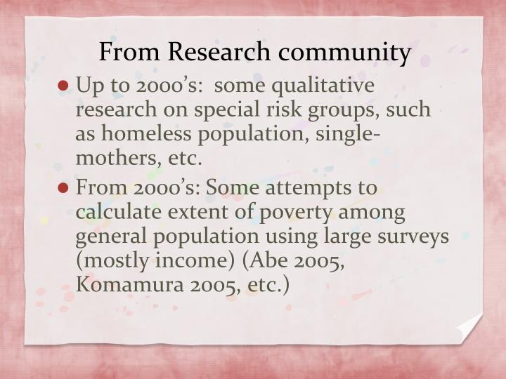 From Research community