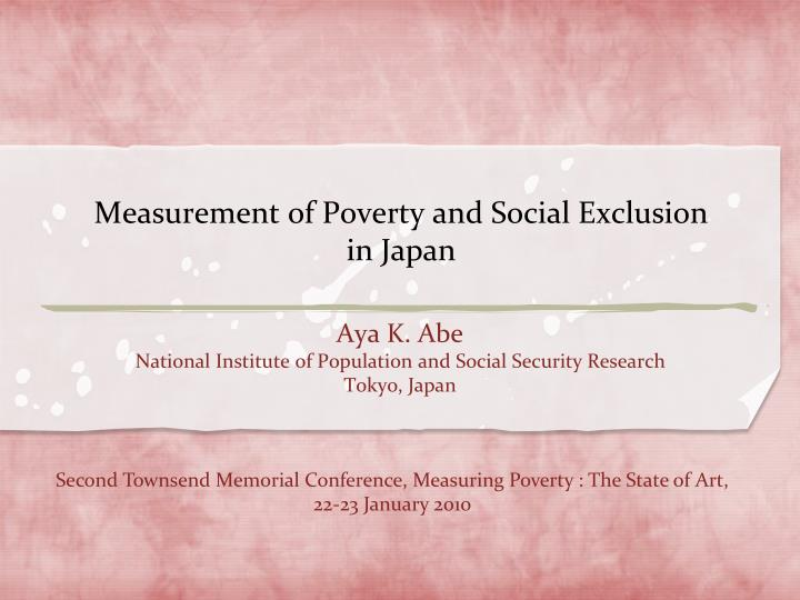 measurement of poverty and social exclusion in japan