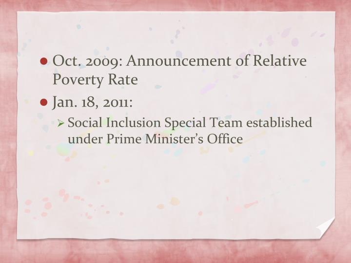 Oct. 2009: Announcement of Relative Poverty Rate