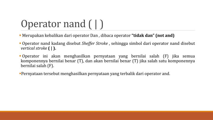 Operator nand ( | )