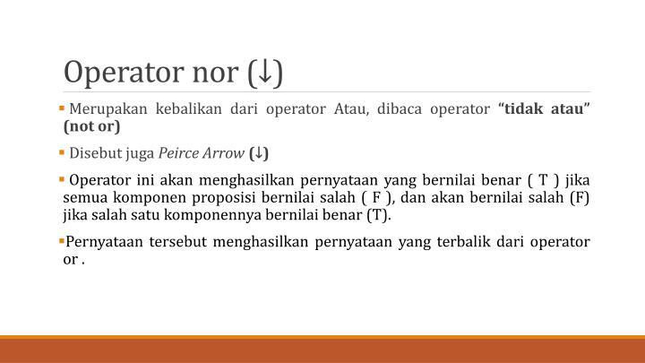 Operator nor (