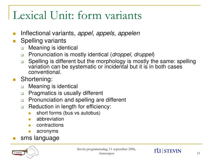 Lexical Unit: form variants