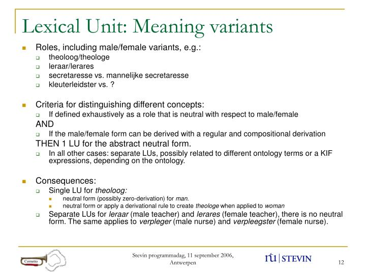 Lexical Unit: Meaning variants