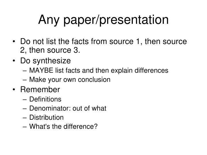 Any paper/presentation