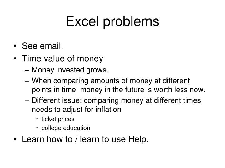 Excel problems