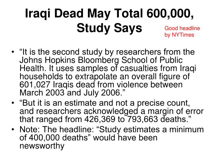 Iraqi Dead May Total 600,000, Study Says