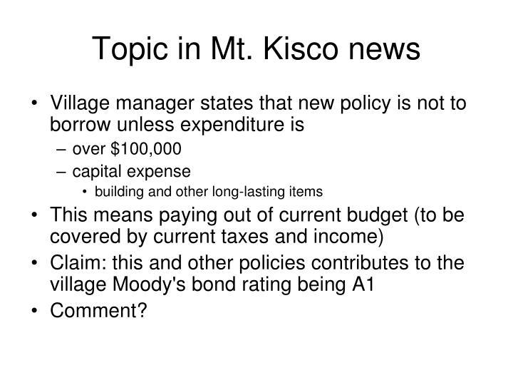 Topic in Mt. Kisco news
