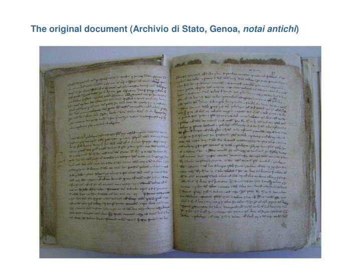 The original document (Archivio di Stato, Genoa,
