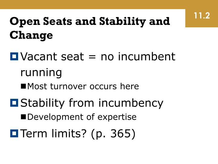 Open Seats and Stability and Change