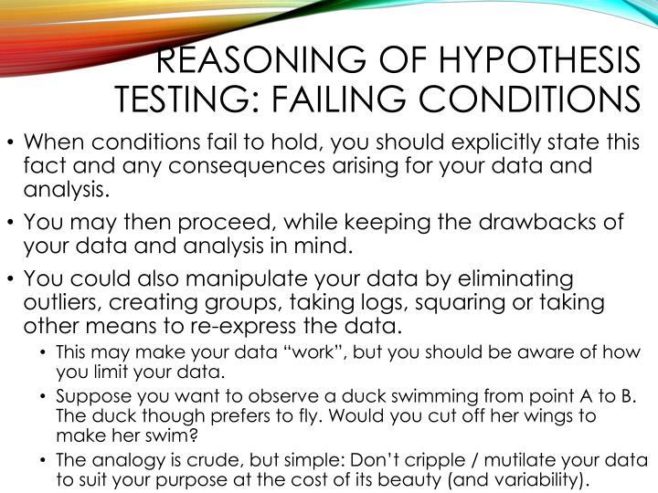 Reasoning of hypothesis testing: