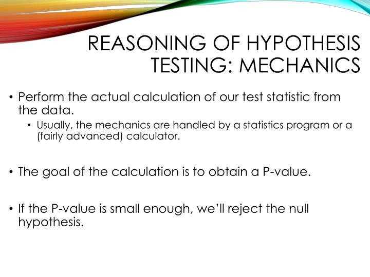 Reasoning of hypothesis testing: Mechanics