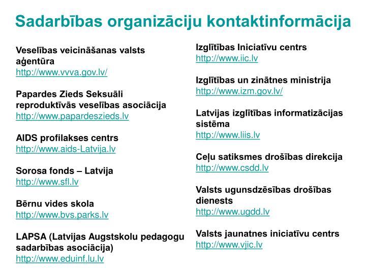 Sadarbības organizāciju kontaktinformācija
