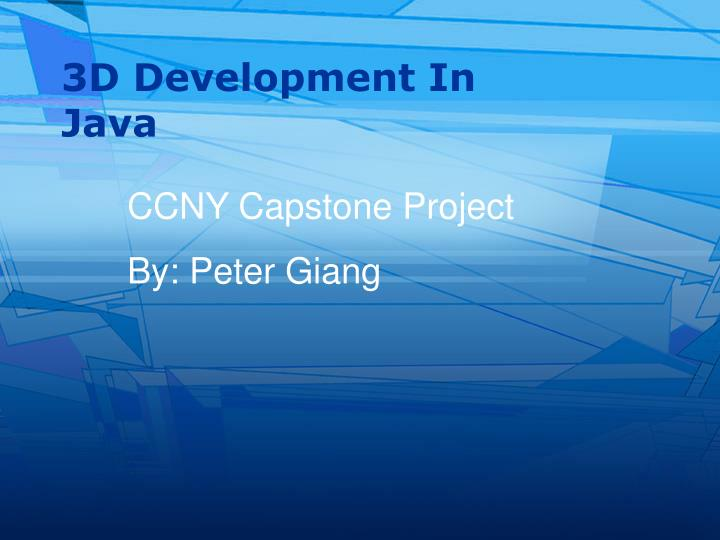 3D Development In Java