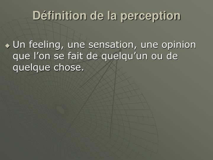 Définition de la perception