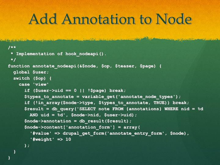 Add Annotation to Node