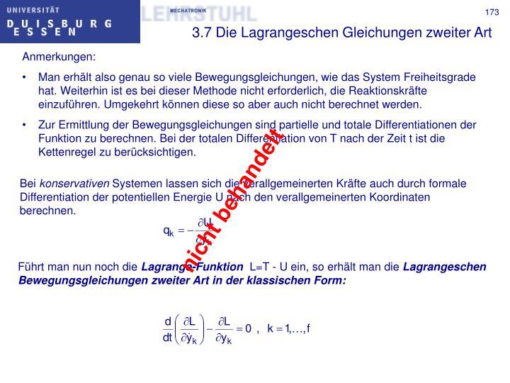 3.7 Die Lagrangeschen Gleichungen zweiter Art