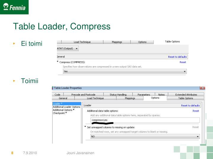 Table Loader, Compress