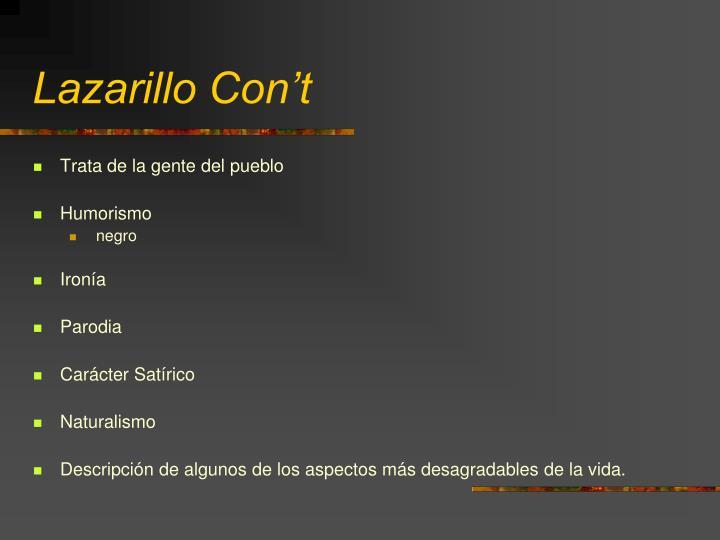Lazarillo Con't