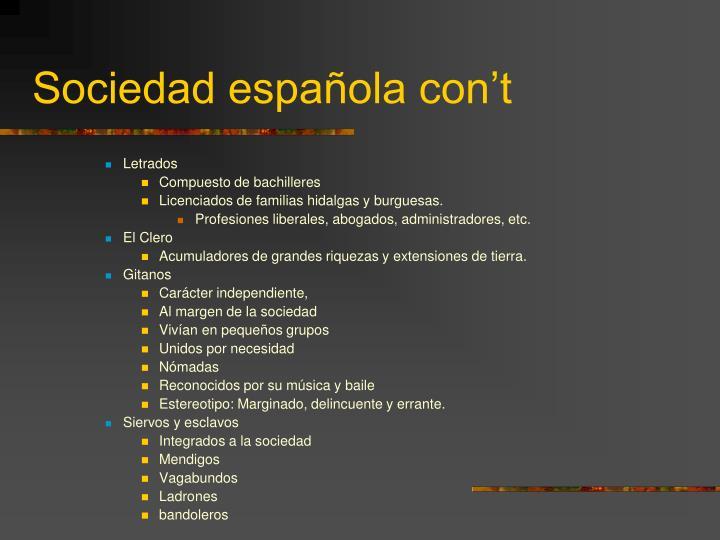 Sociedad española con't