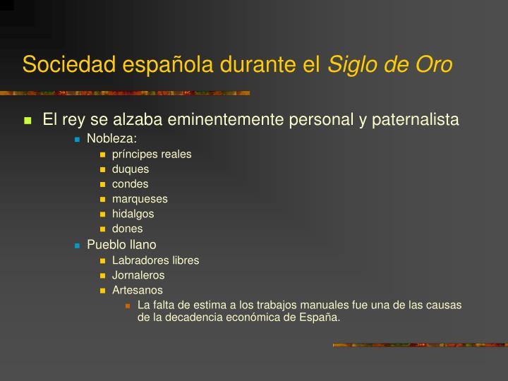 Sociedad española durante el