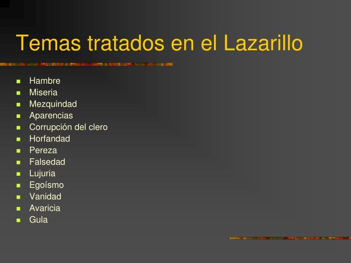 Temas tratados en el Lazarillo